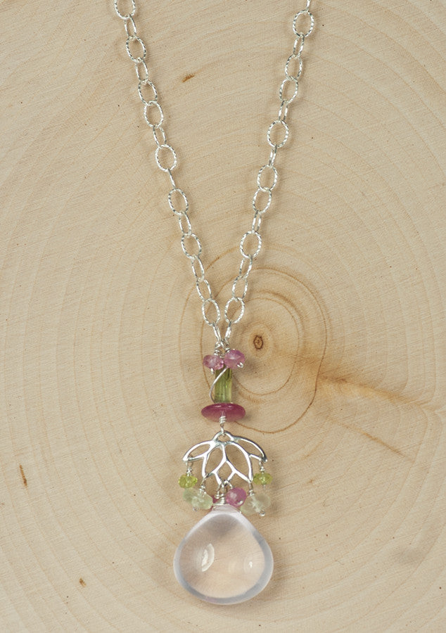Handmade Rose Quartz, Tourmaline and Sapphire Necklace and Earrings Set