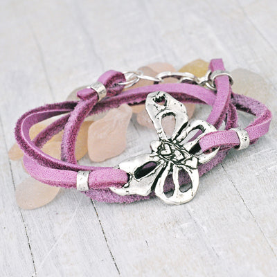 Butterfly Purple Leather Boho Wrap Bracelet
