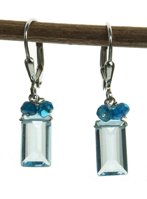 Blue Topaz and Apatite Handmade Sterling SIlver Earrings by Kristin Ford | Whisperingtree.net