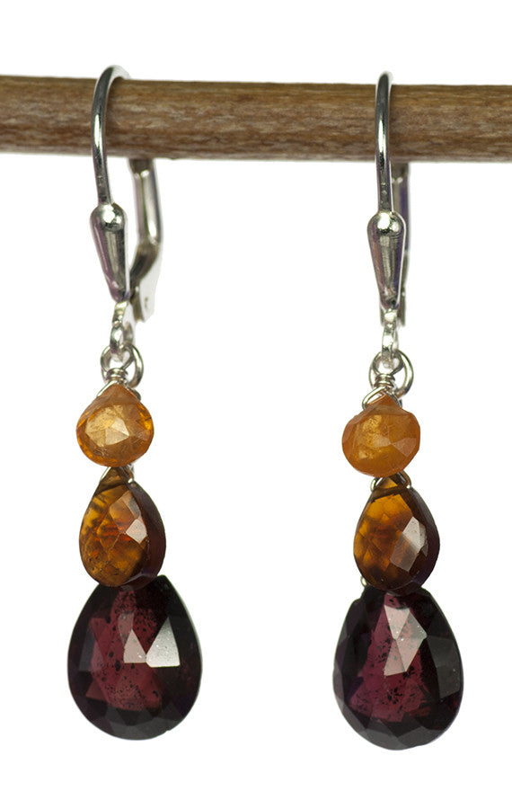 Handmade Sterling Silver Gemstone Earrings in Tri Color Garnet with Rhodolite, Mandarin and Spessartite Garnet by Kristin Ford | Whisperingtree.net