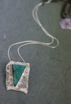 "Chrysocolla ""Torpedo"" Silver Art Jewelry Pendant by Carina Rossner 