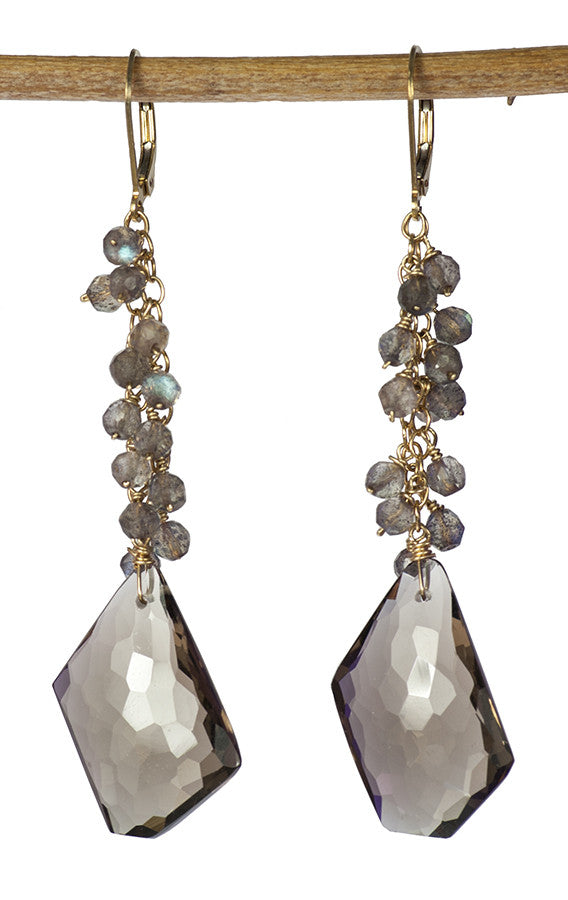 One of a Kind Statement Earrings in Smoky Quartz and Labradorite