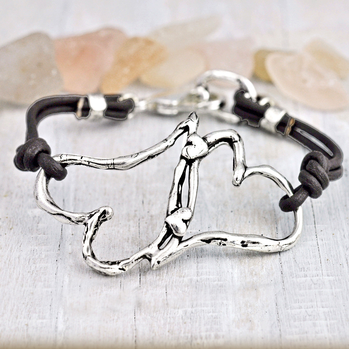 Hearts Entwined Leather Bracelet