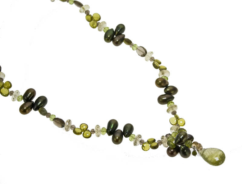 Handmade Grossular Green Garnet Necklace and Earrings Set