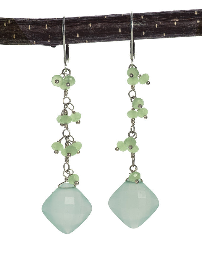 Gorgeous Blue Chalcedony and Chrysoprase Handmade Statement Earrings Sterling SIlver Earrings  by Kristin Ford | Whisperingtree.net