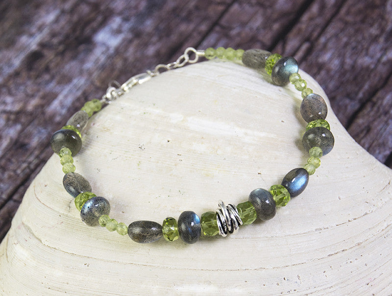 Labradorite and Peridot Protection Bracelet by Kristin Ford