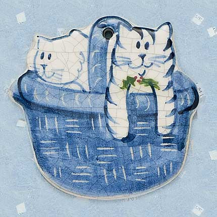 Kitties in a Basket Hanging Ornament