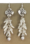 Dogwood Flower with Moonstone and Pearls Drop Earrings by Sherry Tinsman | Whisperingtree.net