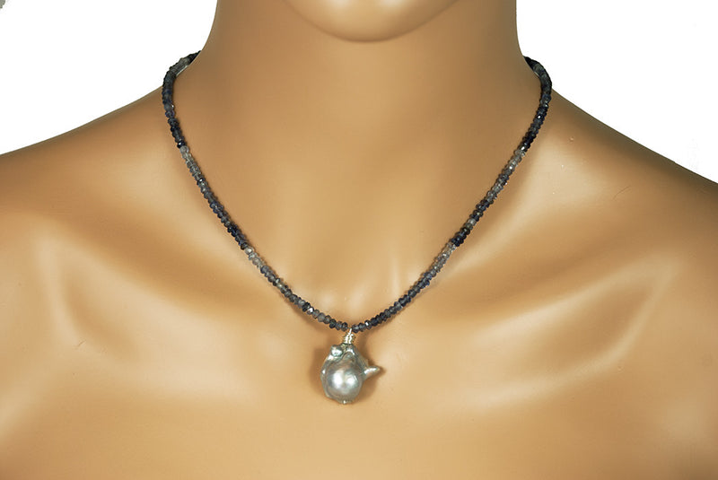 Blue Iolite Baroque Pearl One of a Kind Silver Handmade USA Kristin Ford Sterling Silver Necklace
