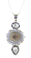 Amethyst Stalactite Slice with Faceted Lavendar Amethyst Necklace Sterling Silver Artisan Pendants | Whisperingtree.net
