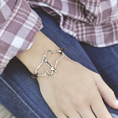 Hearts Entwined Leather Boho Bracelet