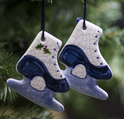 Ice Skates Hanging Ceramic Ornament