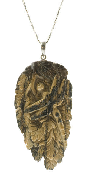 Dragonfly Spirit Totem Pendant Carved Fossil Walrus Ivory | Whisperingtree.net