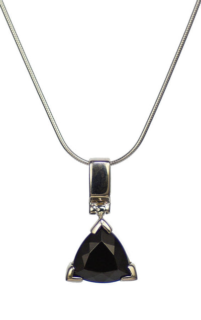 Indochinite Tektite Sterling Silver Triangular Cabochon Pendant | Whisperingtree.net