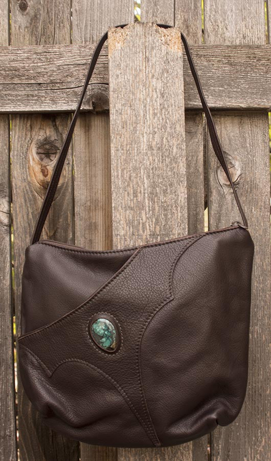 Handmade Leather Big Pocket Bag with Turquoise Touchstone