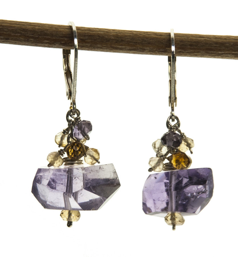 Amethyst and Citrine Handmade Sterling Silver Earrings by Kristin Ford | Whisperingtree.net