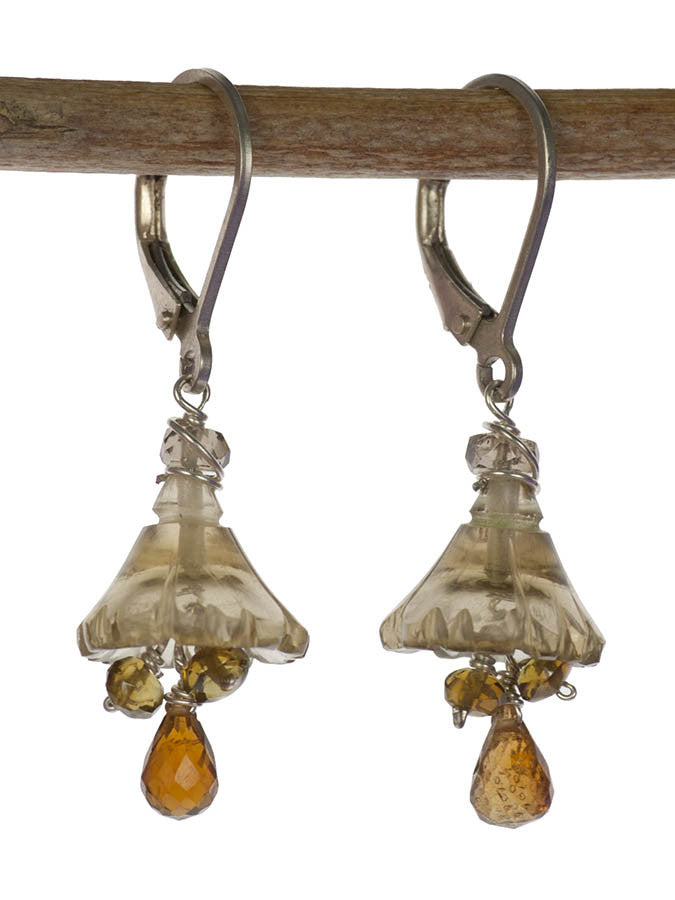 Handmade Sterling Silver Bell Flower Gemstone Earrings with Champagne Quartz and Tourmaline by Kristin Ford | Whisperingtree.net