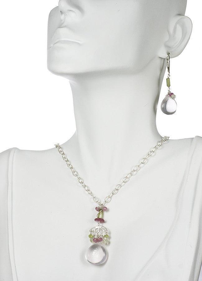 One of a Kind Handmade Artisan Jewelry Necklace and Earring Set Handmade in USA with Rose Quartz, Tourmaline, Pink Sapphire and Peridot | Whisperingtree.net