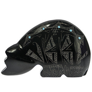 Etched Bear Zuni Fetish Carving with Turquoise