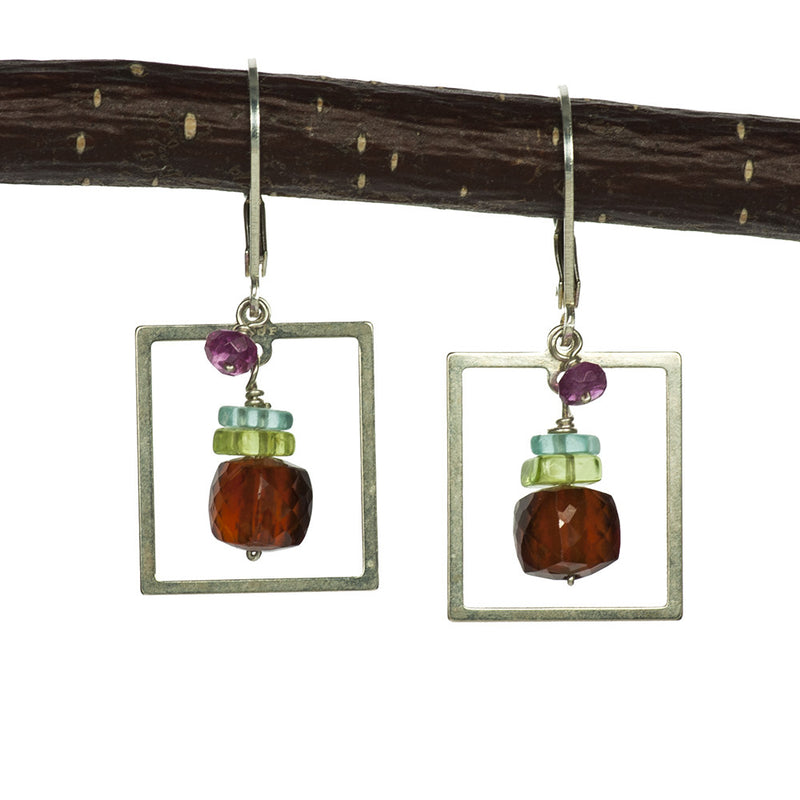 Mod Square Hessonite, Peridot, Apatite and Tourmaline Handmade Earrings