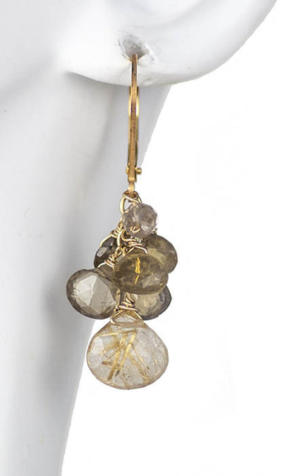 Hand Made Jewelry Rutilated Quartz, Smoky Quarts and Andalucite Necklace and Earring Set by Kristin Ford | Whisperingtree.net