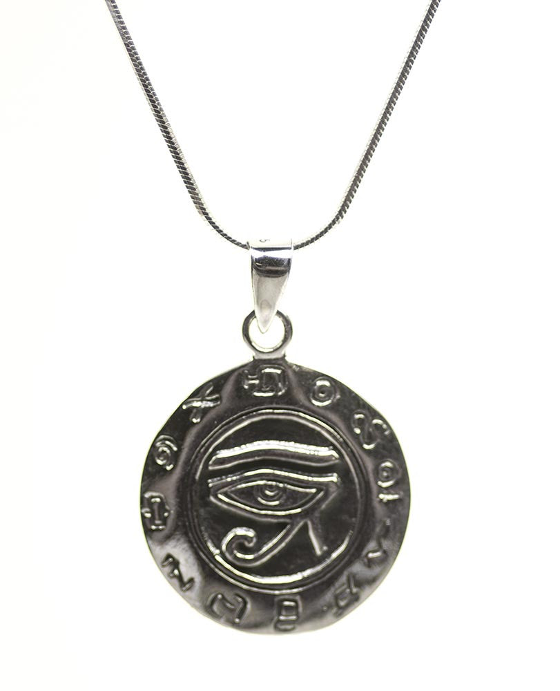 Egyptian Zodiac with Eye of Horus Protection Sterling Silver Necklace