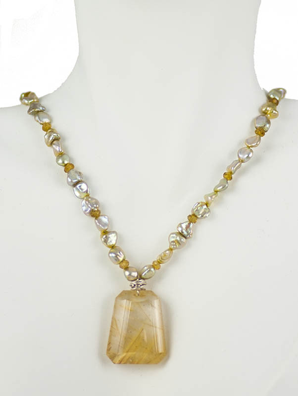 Rutilated Quartz with Tourmaline and Keishi Pearl Necklace One of a Kind