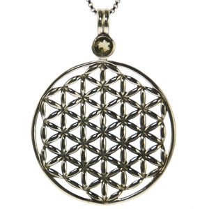 Moldavite Flower of Life Pendant Sterling Silver