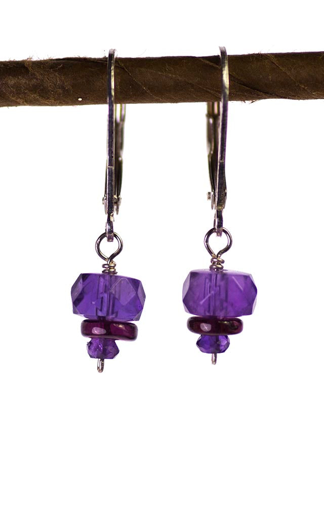 Amethyst and Rhodolite Garnet Kristin Ford Earrings