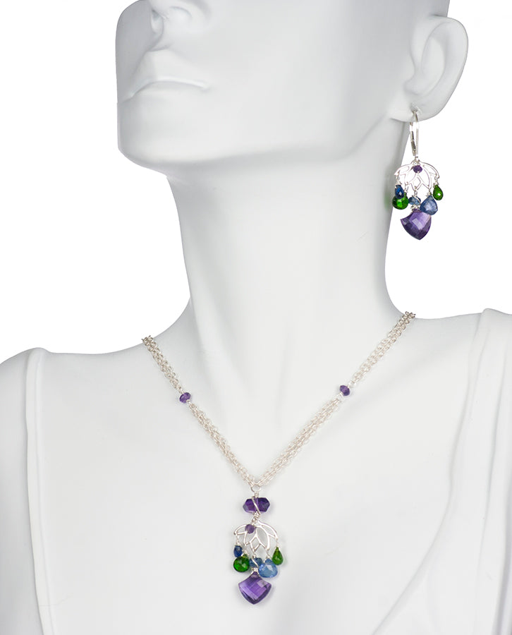 Lotus Amethyst Tanzanite Sterling Silver Handmade USA Kristin Ford Sterling Silver Necklace Earrings Set