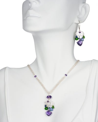 Dainty Lotus Necklace and Earring Set with Amethyst, Tanzanite, Kyanite and Tsavorite
