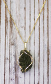 14K Gold Rare Besnednice Moldavite Pendant on Beautiful Figaro Chain