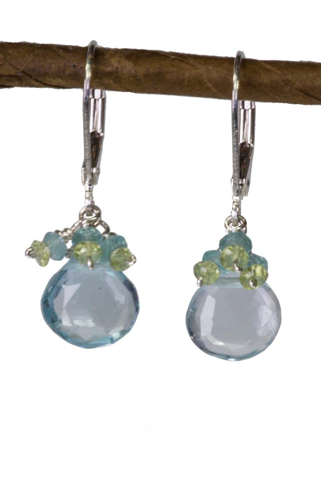 Blue Topaz, Perdot and Apatite Handmade Gemstone Earrings by Kristin Ford