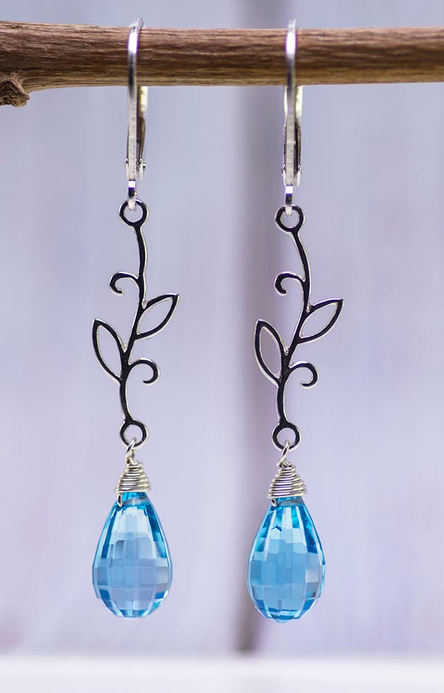 Sterling Silver Vines with Blue Topaz Earrings