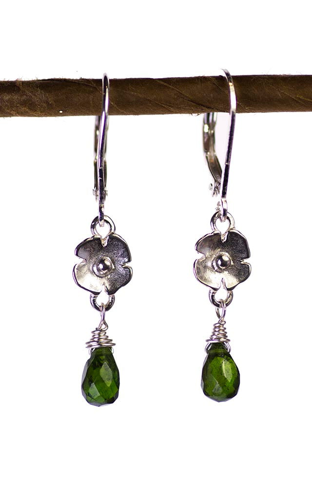 Chrome Diopside and Silver Flower Kristin Ford Earrings