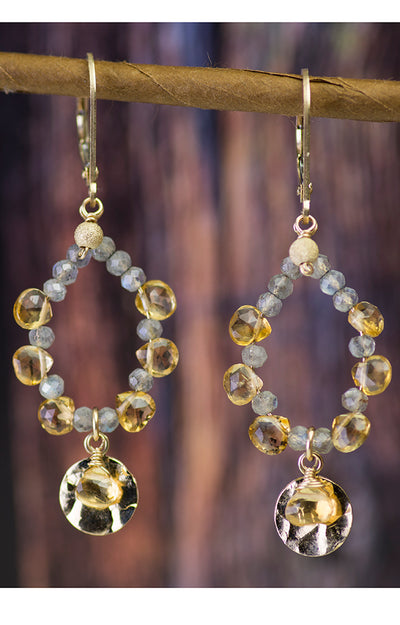 Citrine and Labradorite Gold Kristin Ford Gypsy Earrings