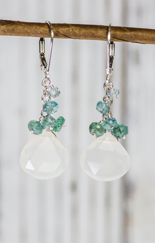 Moonstone, Aquamarine and Apatite Handmade Gemstone Earrings by Kristin Ford
