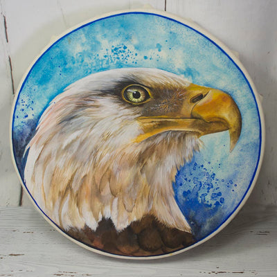 Hand Made Bald Eagle Spirit Shaman Drum 15 Inch