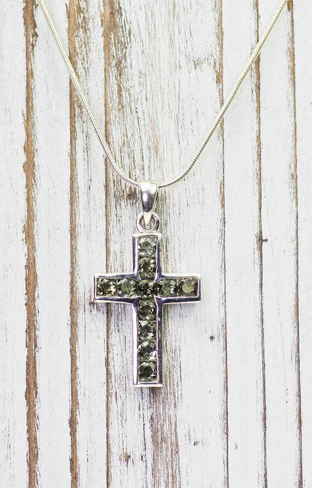 Moldavite Cross Pendant in Sterling Silver