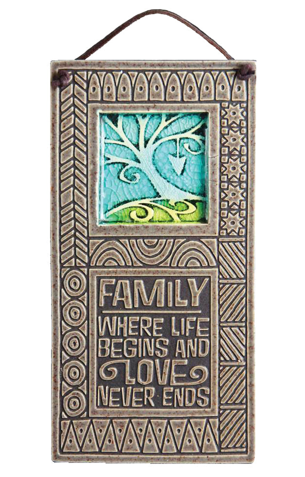 Family Where Life Begins and Love Never Ends Wall Plaque