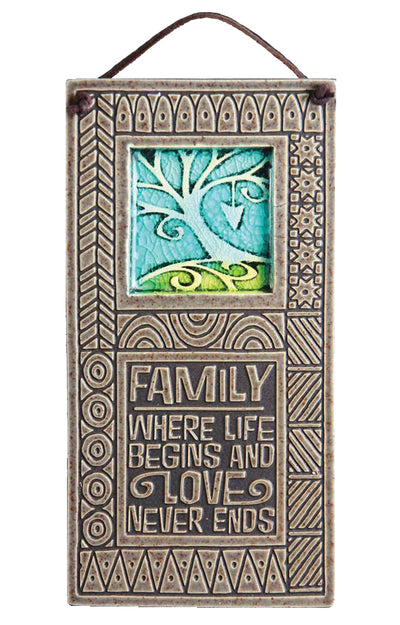 Inspirational Gifts Wall Plaque Family Begins Love Made in USA