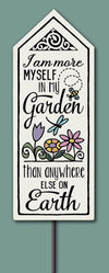 I Am More Myself In My Garden... Garden Tile (includes stake)