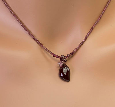 Garnet and Tourmaline Handmade USA Kristin Ford Sterling Silver Necklace
