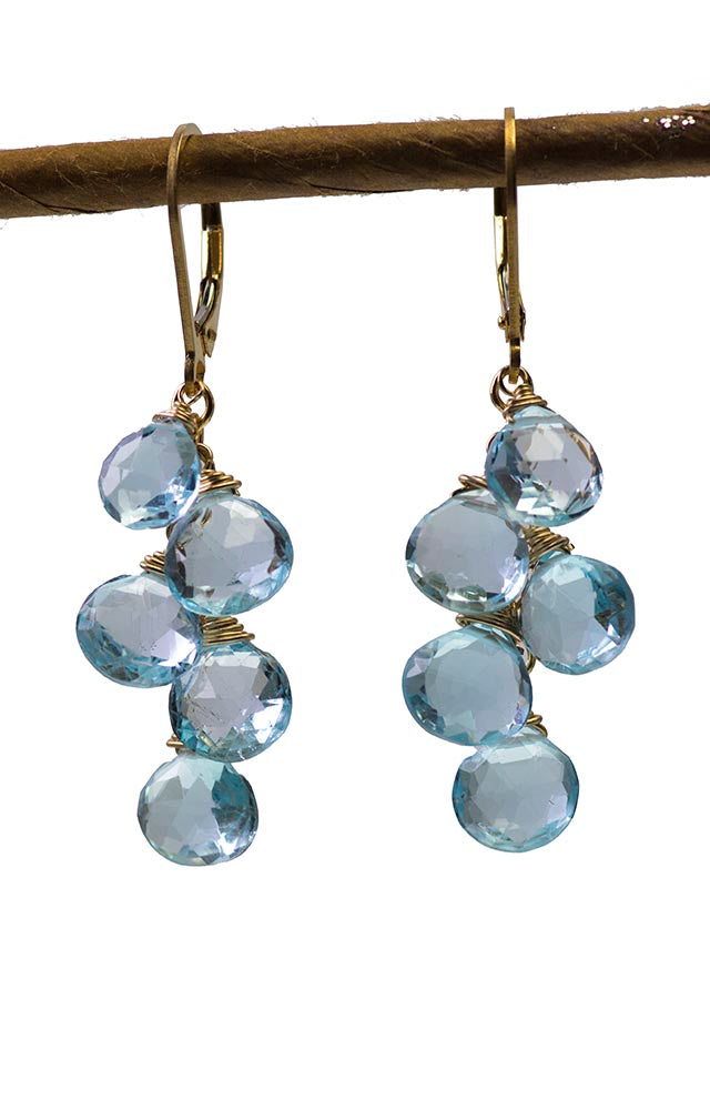 Gold Blue Topaz Handmade Gemstone Earrings by Kristin Ford