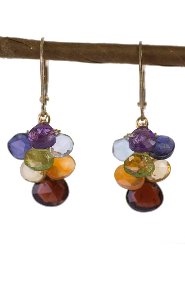 Gold Chakra Gemstones Handmade USA Kristin Ford Gold Earrings