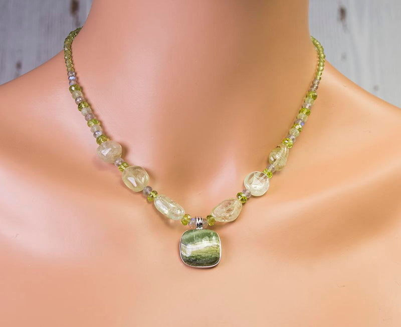 Green Opal One of a Kind Handmade USA Kristin Ford Sterling Silver Necklace