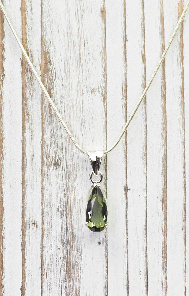 Unique Faceted Green Tourmaline Sterling Silver Pendant