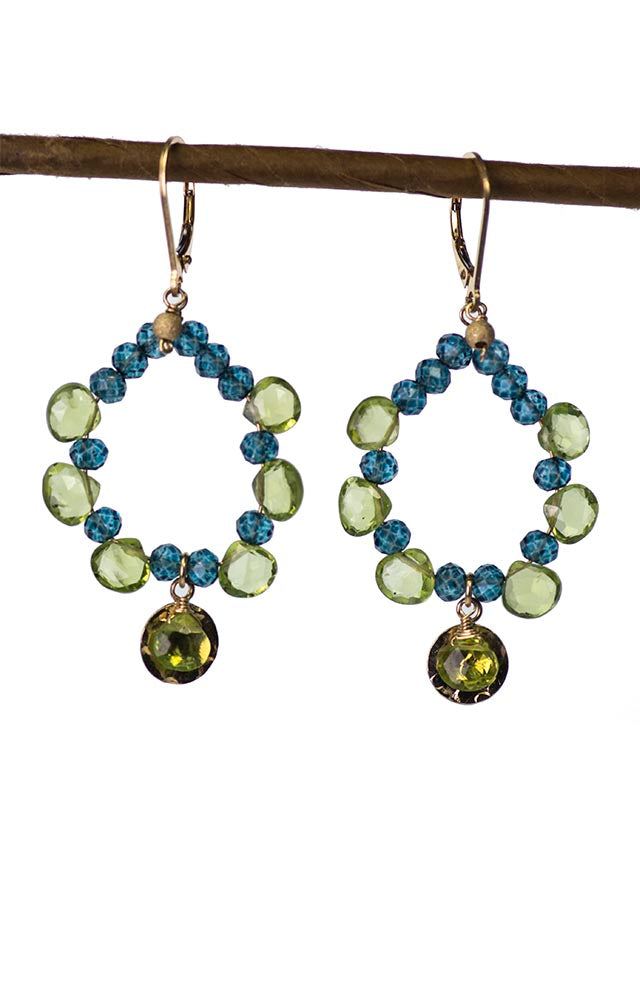 Peridot and Topaz Gold Kristin Ford Gypsy Earrings