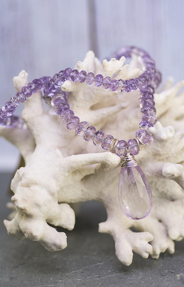 Handmade Kunzite and Lavender Amethyst Kristin Ford Necklace One of A Kind