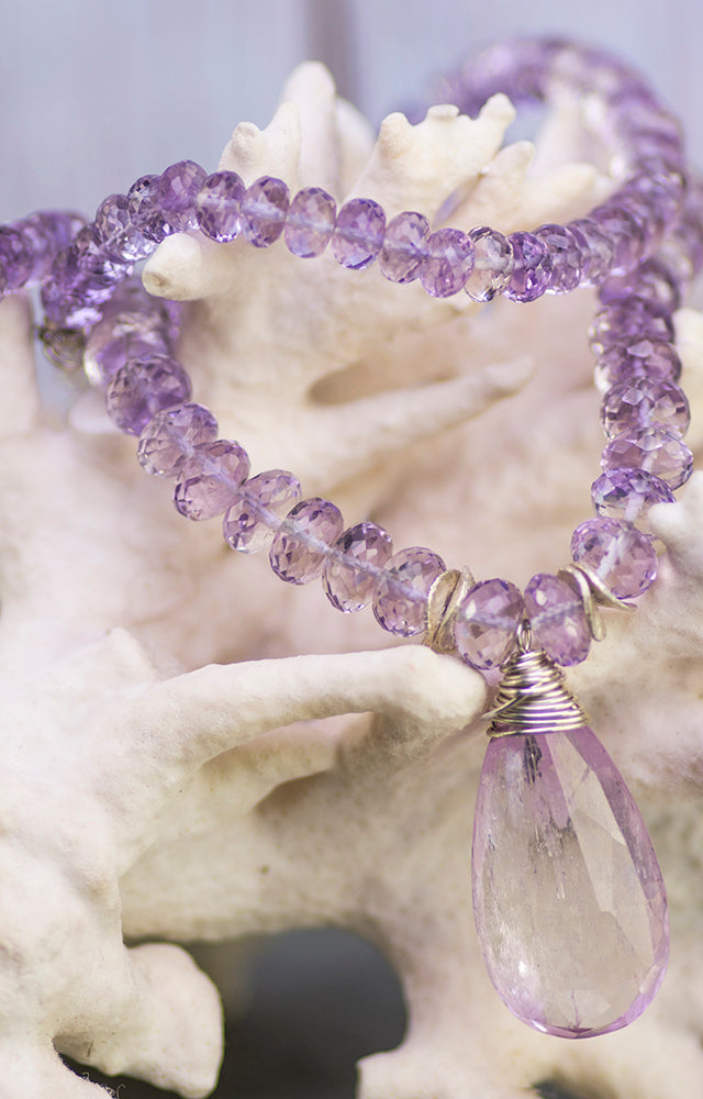 Heart Healer Kunzite and Lavender Amethyst Kristin Ford Necklace One of A Kind